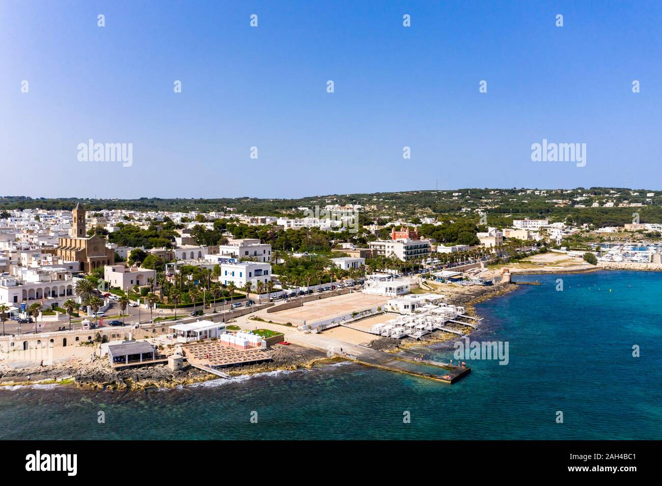 Italy, Apulia, Salento peninsula, Lecce province, Aerial view of Santa Maria di Leuca with harbor Stock Photo
