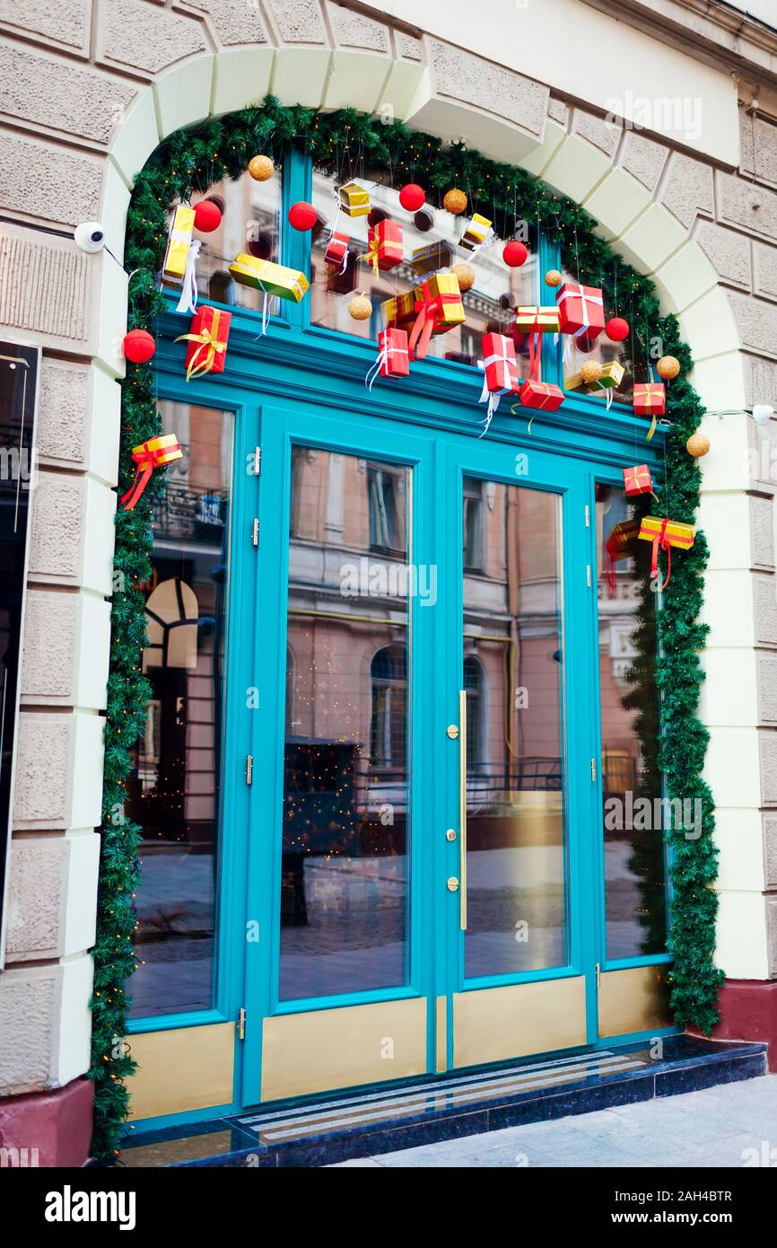 Christmas New Year Restaurant Decoration On Lviv City Street Holiday Season Doors With Gifts And Presents Stock Photo Alamy