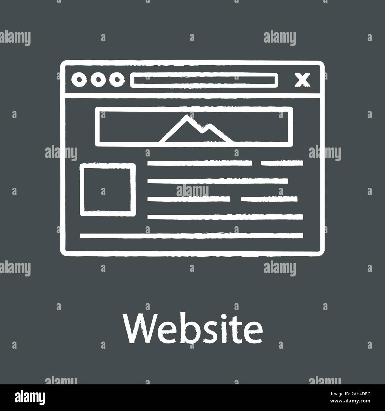 Website Chalk Icon Web Page Web Browser Interface Internet Marketing Social Media Internet Shop Webpage Template Website Design Service Isolate Stock Vector Image Art Alamy