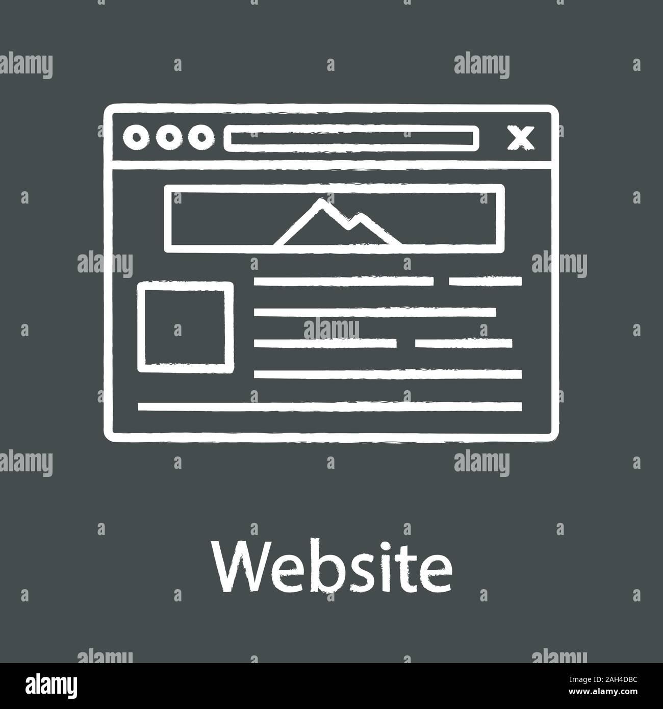 Website Chalk Icon Web Page Web Browser Interface Internet Marketing Social Media Internet Shop Webpage Template Website Design Service Isolate Stock Vector Image Art Alamy