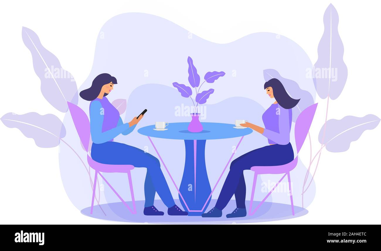 Girls are sitting at a table in a cafe drinking coffee. Women in a restaurant, friends communicate. Flat modern illustration. Vector Stock Vector