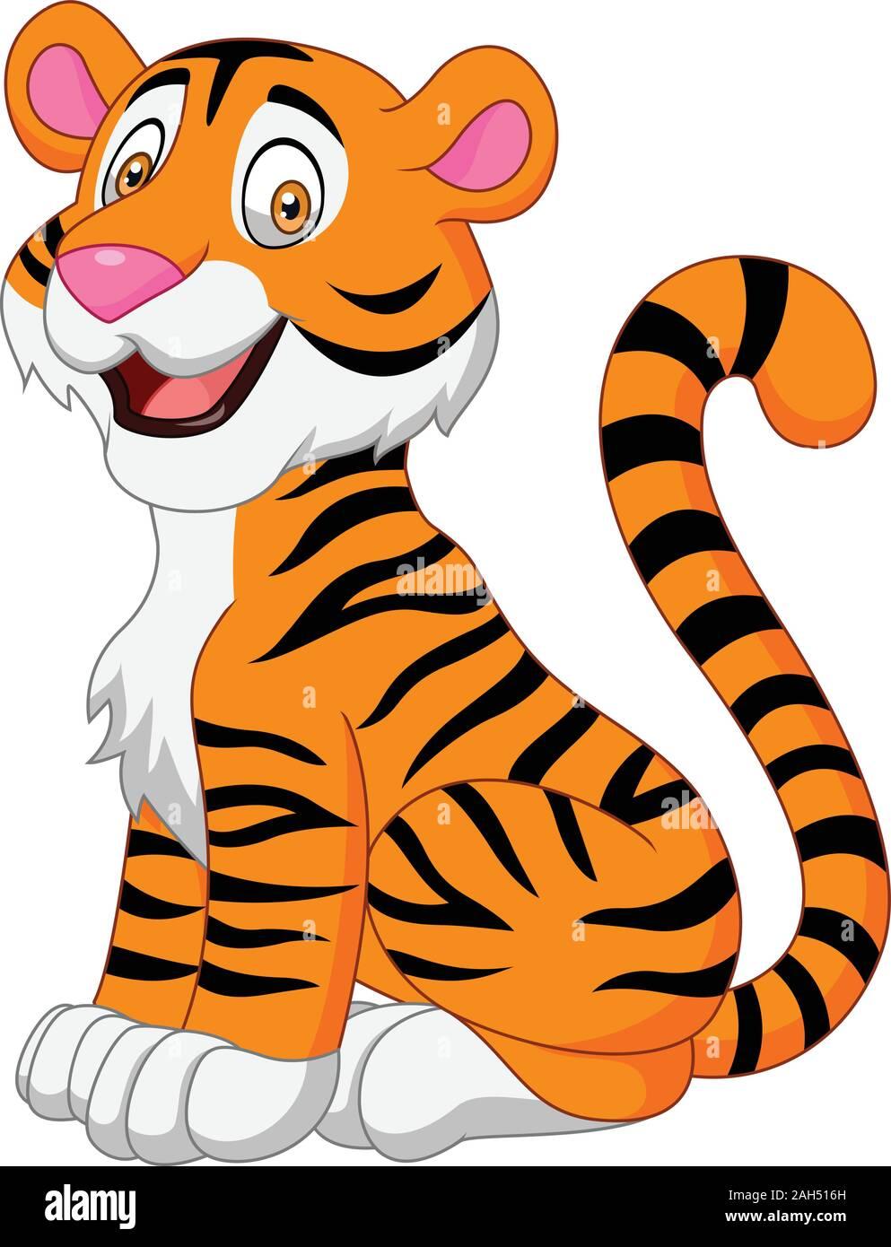 Cartoon Smiling Tiger Stock Vector Image Art Alamy