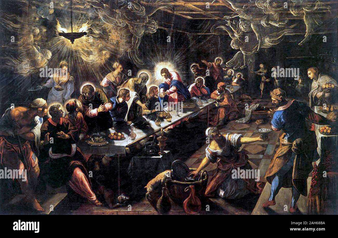 The Last Supper (1594) by Jacopo Tintoretto Stock Photo