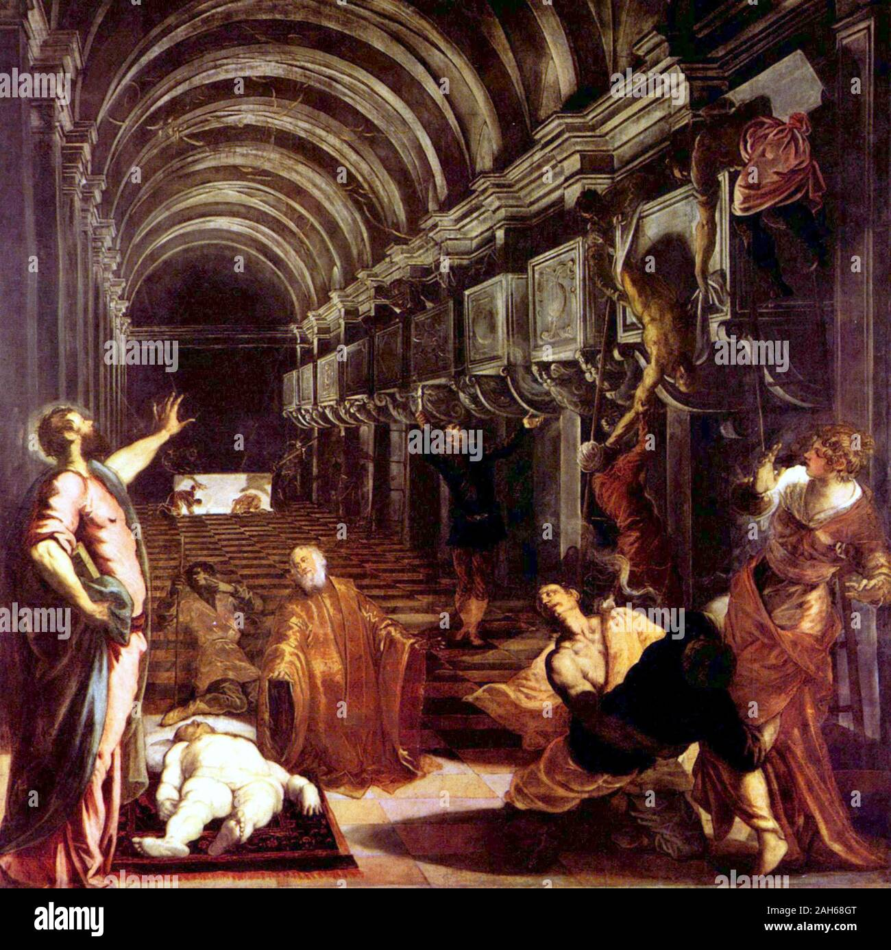 Finding of the body of St Mark (1548) Pinacoteca di Brera by Jacopo Tintoretto Stock Photo