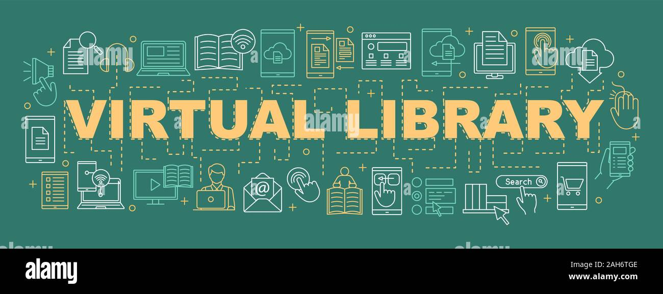 Electronic Library Word Concepts Banner E Books Presentation Website Virtual Library Online Education E Learning Isolated Lettering Typography Stock Vector Image Art Alamy