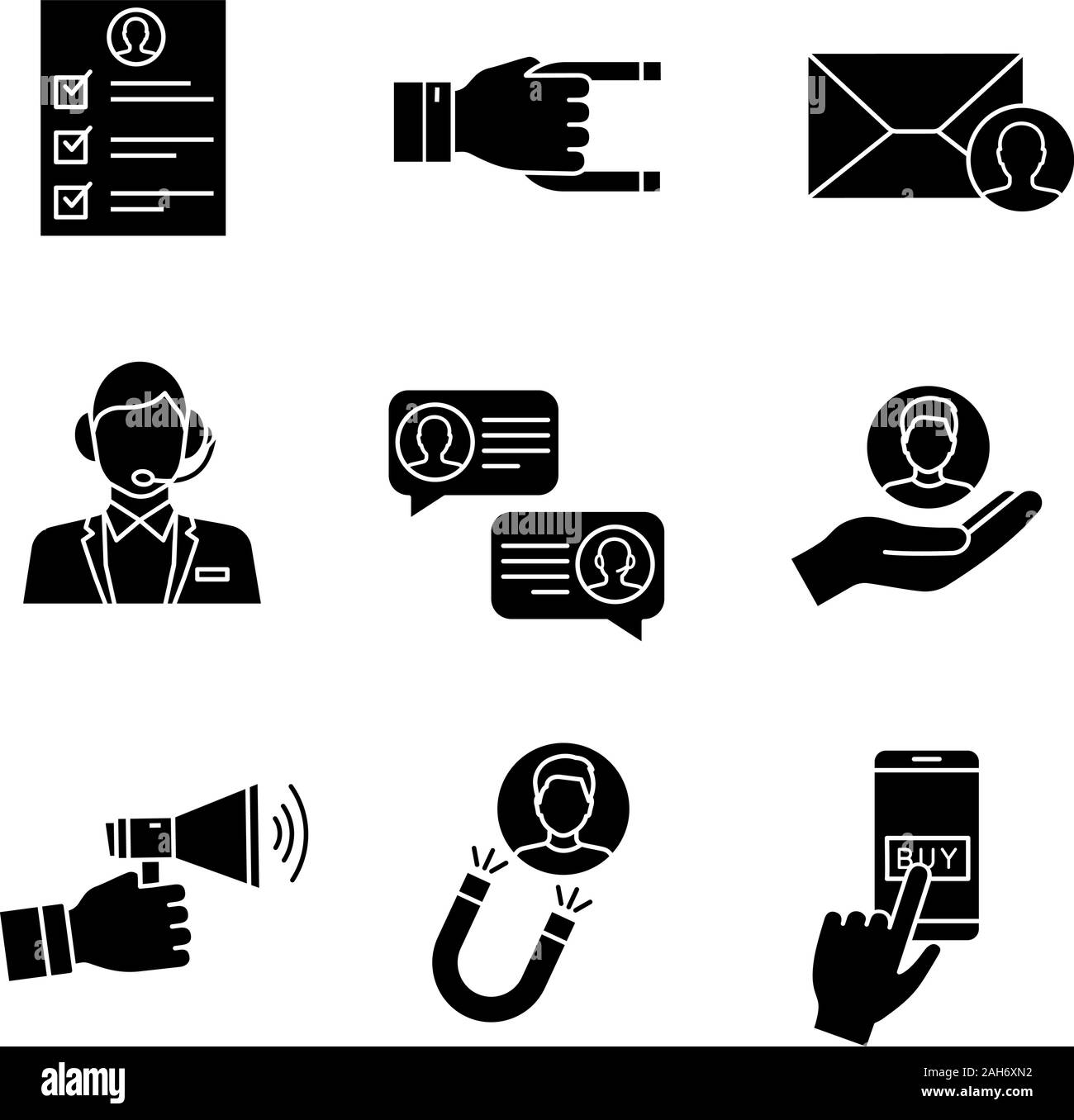 Customer Retention And Loyalty Glyph Icons Set Survey Client Attraction Target Mailing Call Center Support Chat Customer Service Advertising P Stock Vector Image Art Alamy