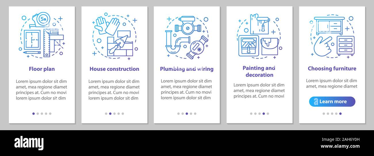 wiring house floor plan house building onboarding mobile app page screen with linear  onboarding mobile app page screen