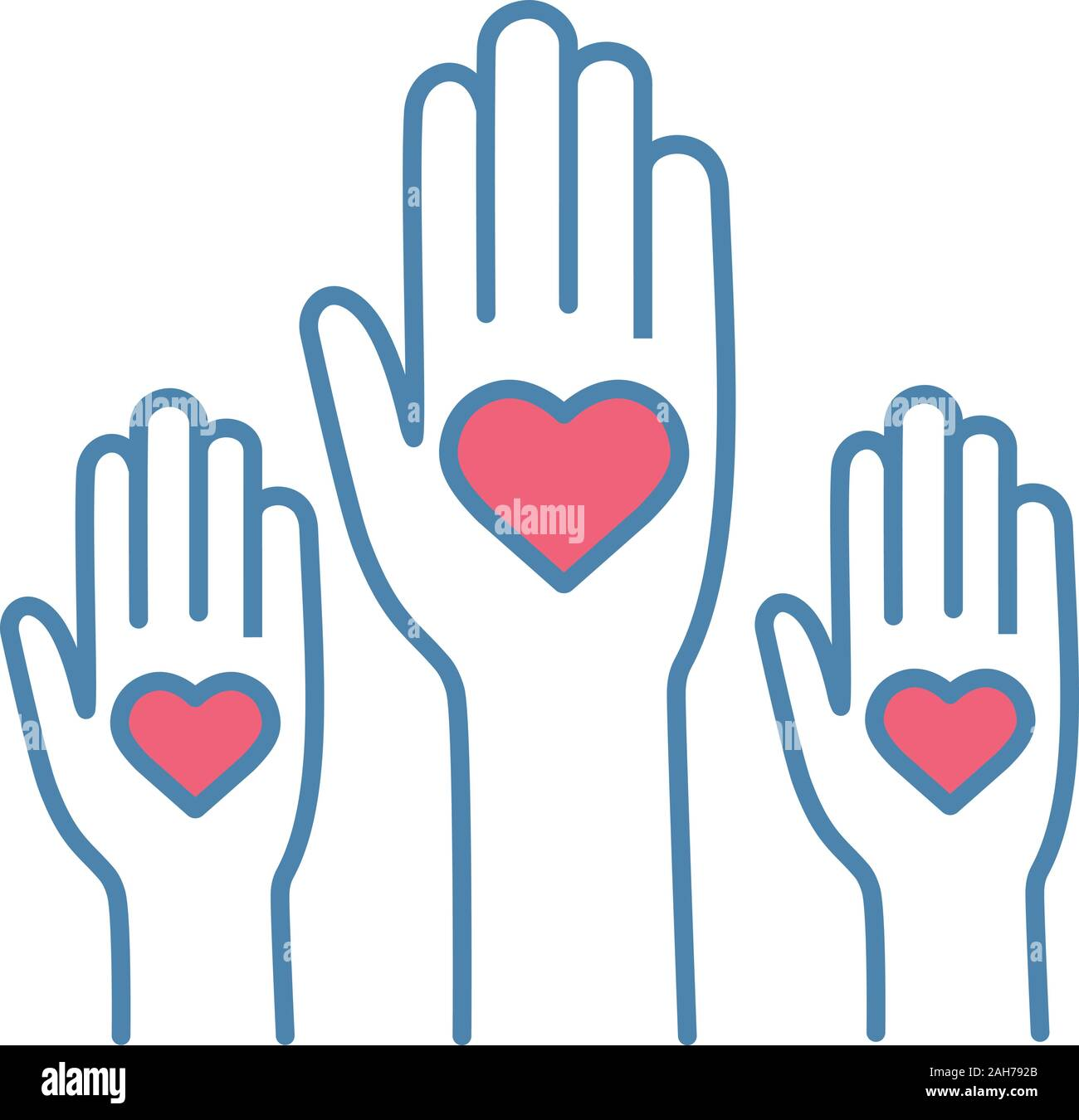Volunteering Experience Color Icon Volunteers Helping Hands Voting Charity Unity In Diversity Isolated Vector Illustration Stock Vector Image Art Alamy