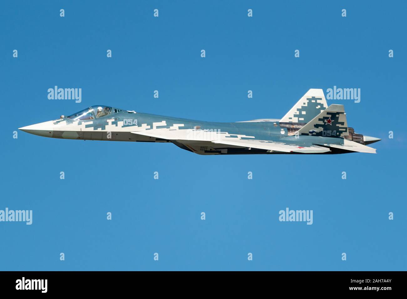 The Sukhoi Su-57 stealth fighter jet of the Russian Air Force at the MAKS 2019 airshow. Stock Photo
