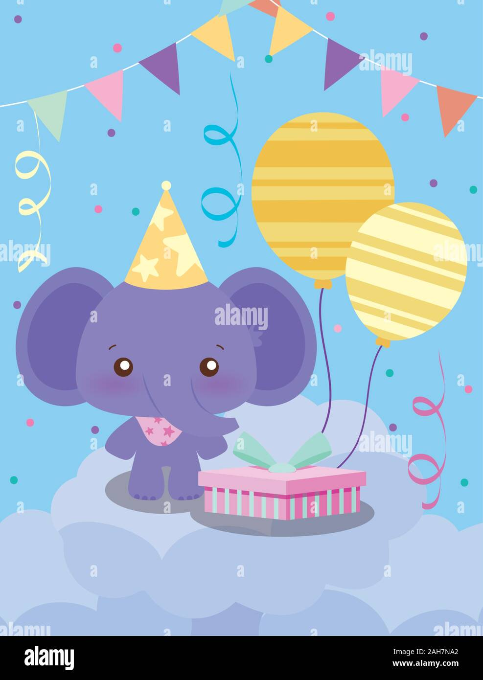 Elephant Cartoon Design Happy Birthday Card Celebration