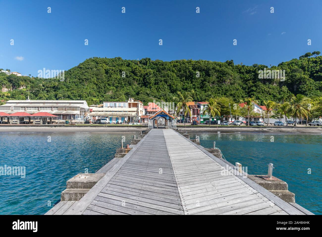 Pier with teak deck in Saint-Pierre, Martinique, France Stock Photo