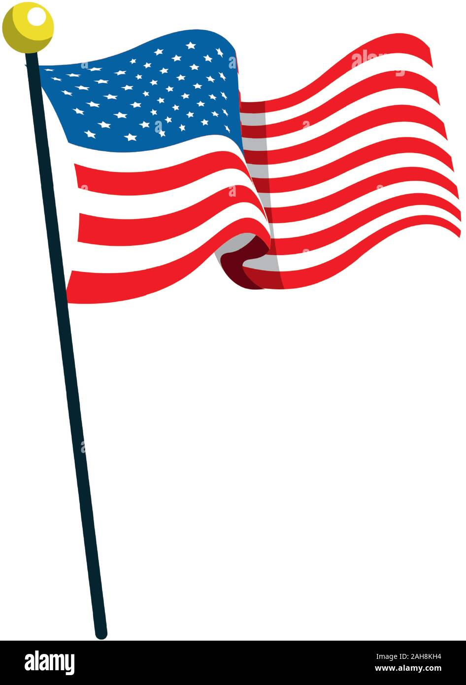 united states american flag in pole Stock Vector