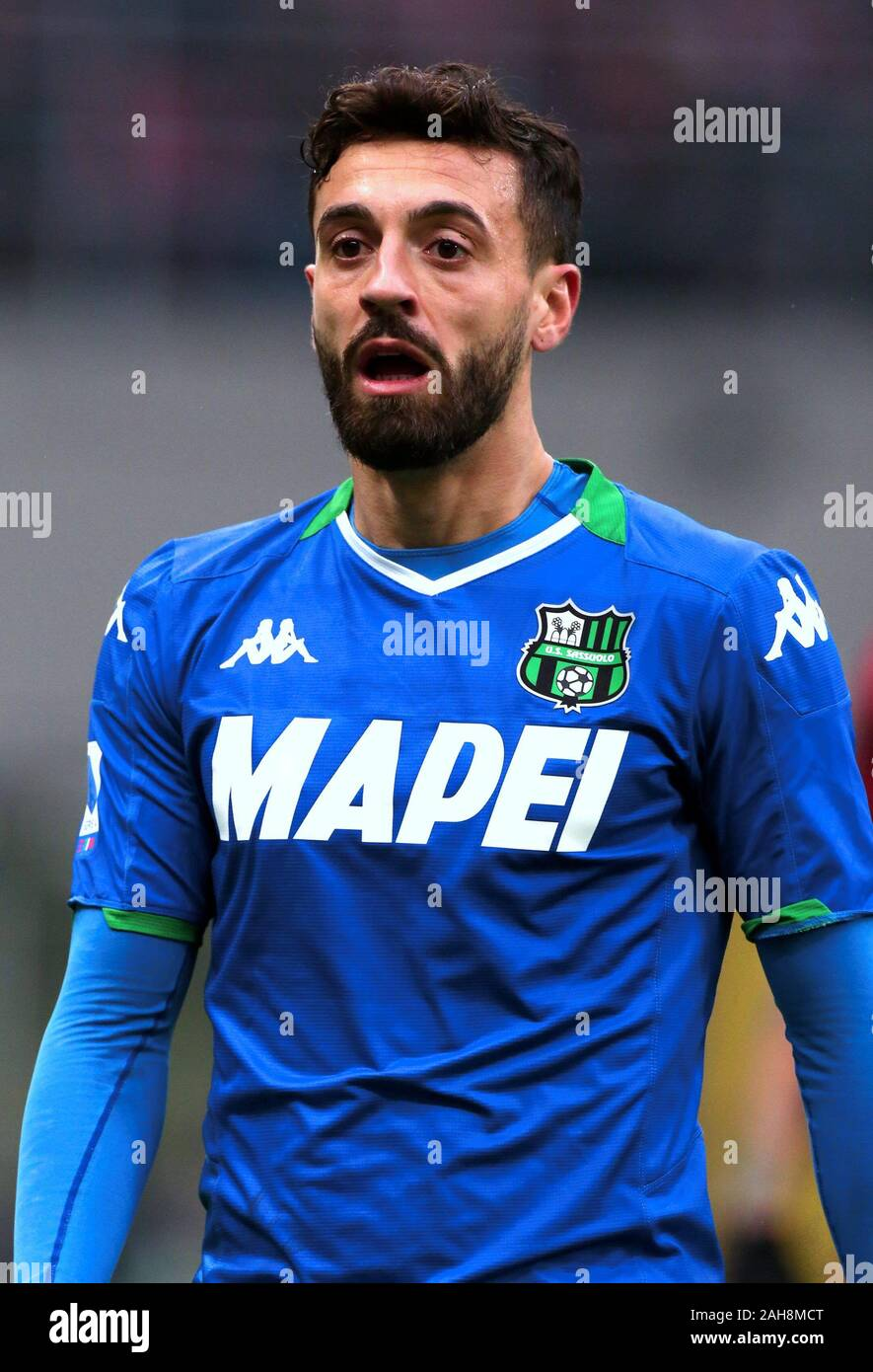 MILAN, ITALY - December 15, 2019: Francesco Caputo looks on during the  Serie A 2019/2020 MILAN v SASSUOLO at San Siro Stadium Stock Photo - Alamy