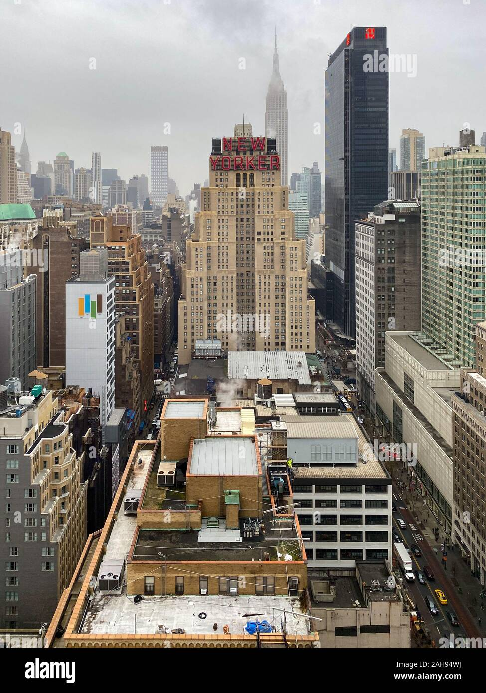 New York City - Dec 13, 2019:  The New Yorker Hotel one of the most famous hotels in New York, located on 8th Avenue in Midtown Manhattan. Stock Photo