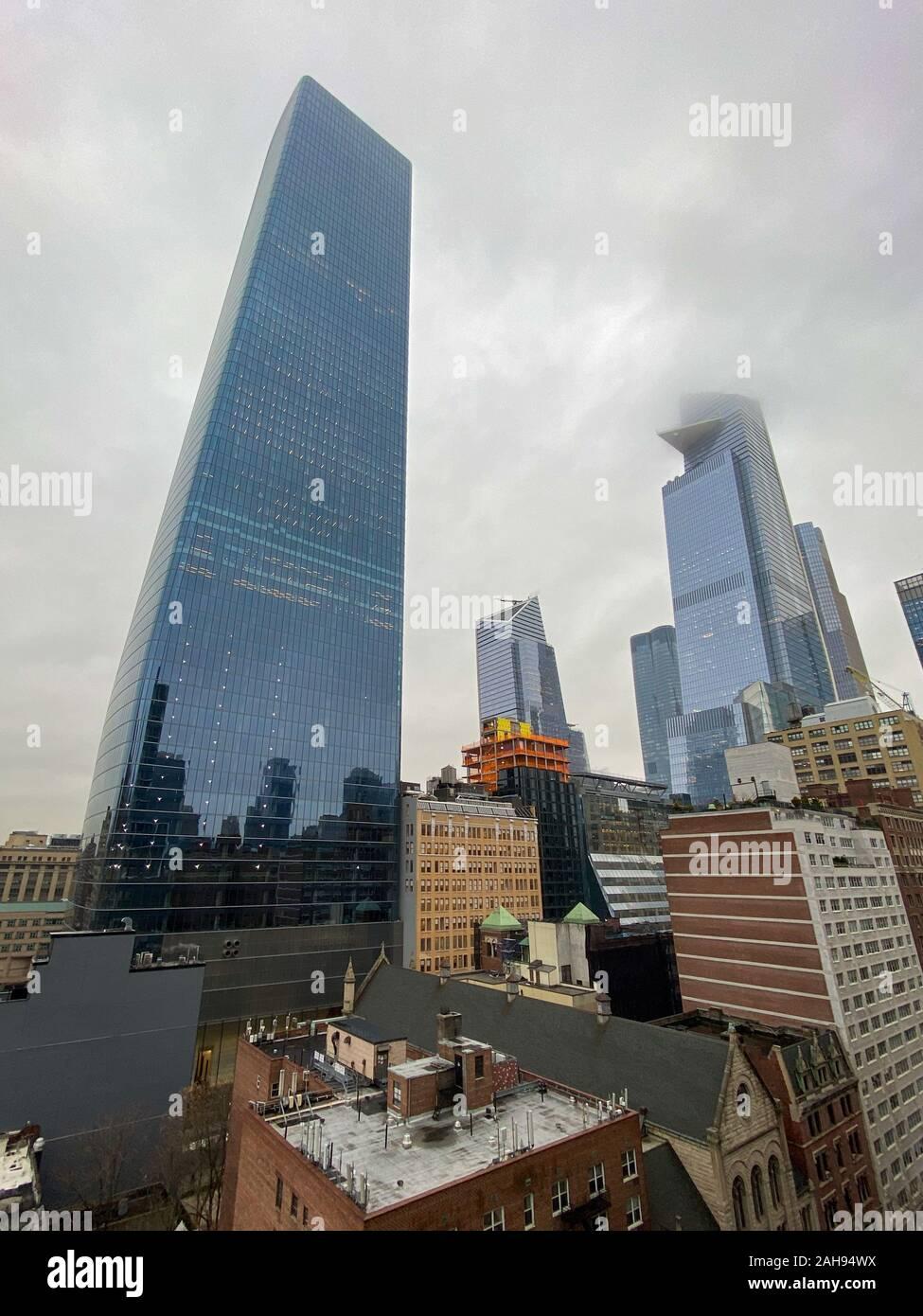New York City - Dec 13, 2019: Modern high-rises in Hudson Yards, New York City. Stock Photo