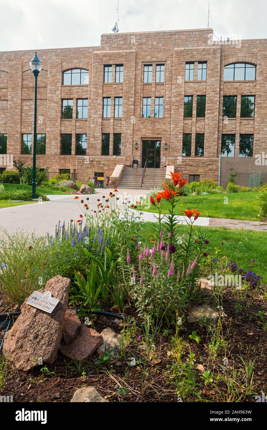 Laramie, Wyoming - July 25, 2014: A Flower Garden is Planted in the Rear of the Albany County Courthouse Stock Photo