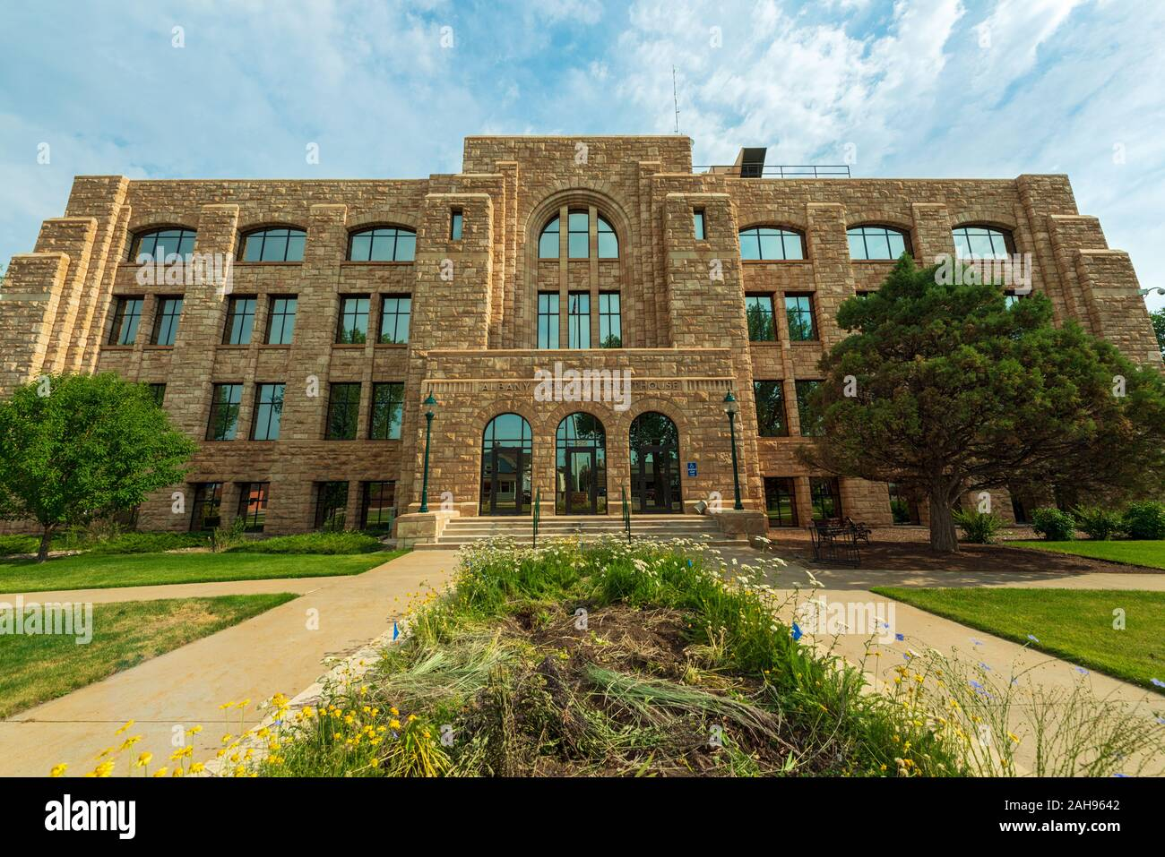 Laramie, Wyoming - July 25, 2014: The Main Entrance to the Albany County Courthouse Stock Photo