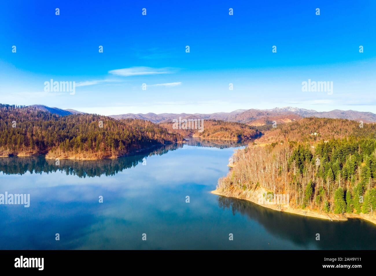 Croatia, Risnjak mountain and Lokvarsko lake in Gorski kotar, autumn colors, panoramic view Stock Photo