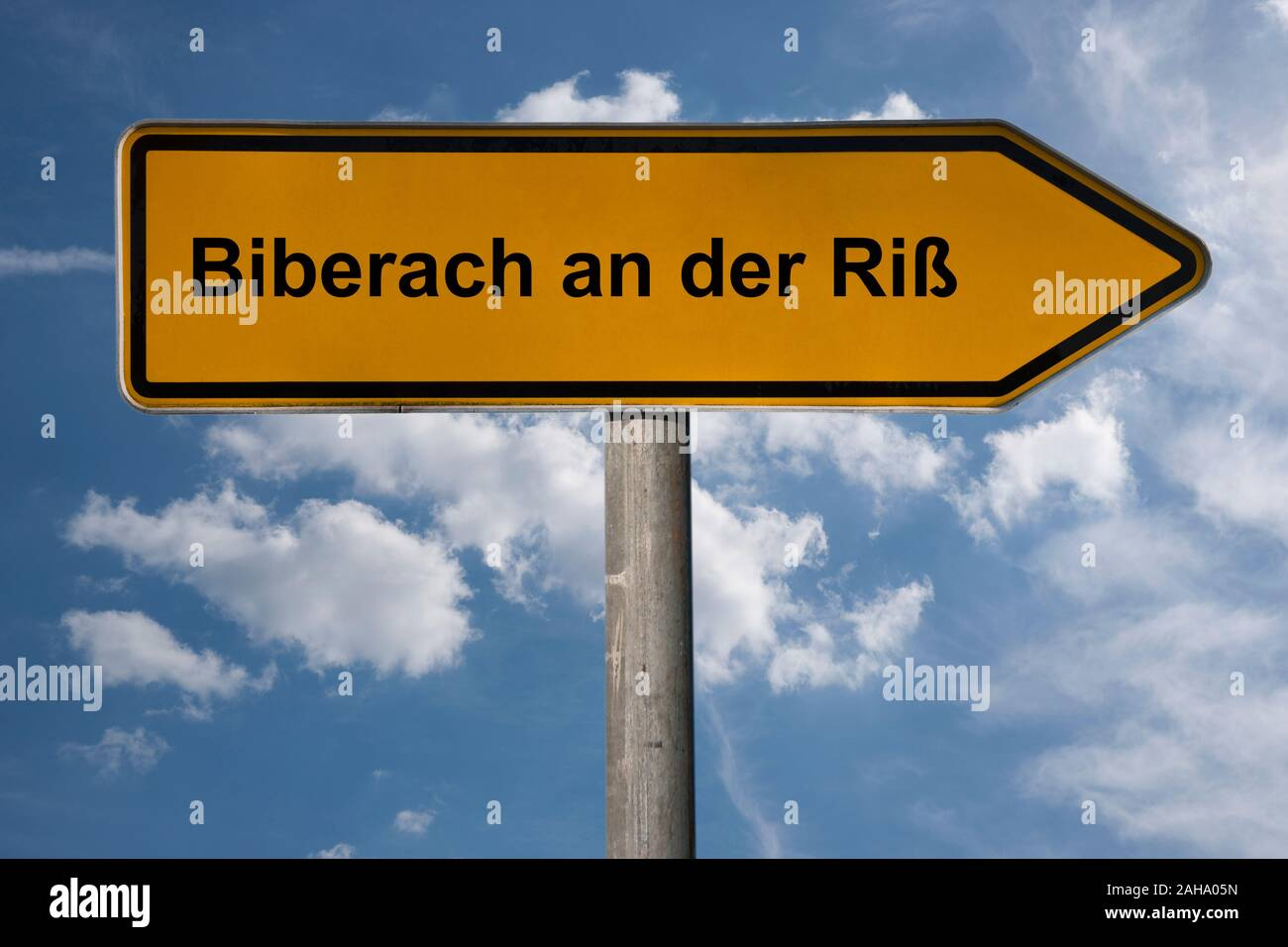 Detail photo of a signpost with the inscription Biberach an der Riß, Baden-Württemberg, Germany, Europe Stock Photo