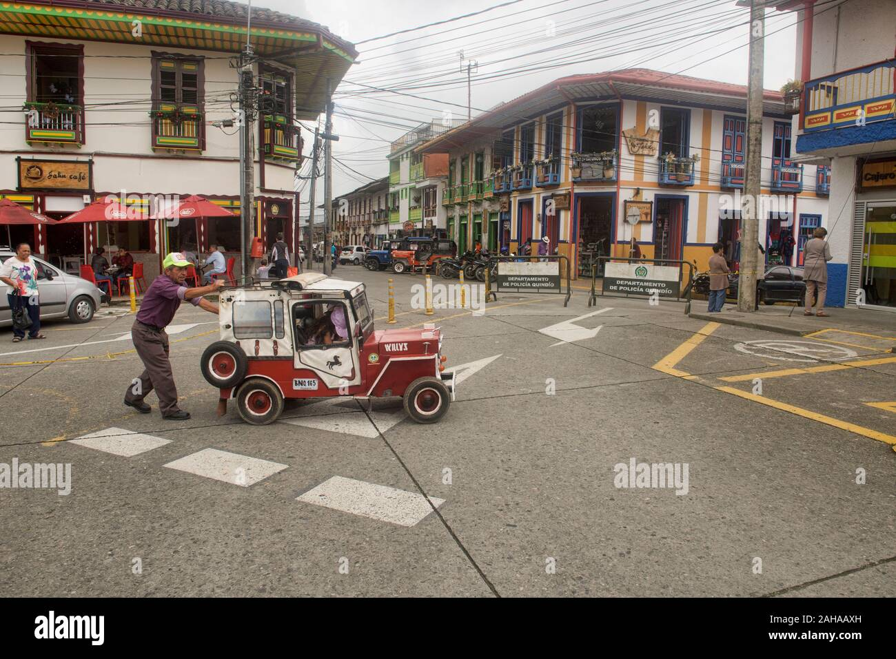 """Miniature """"willy"""" jeeps in Filandia in the Zona Cafetera, Colombia Stock Photo"""