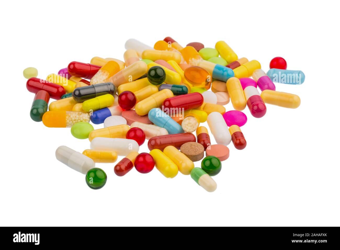 Verschiedene Tabletten, Kosten, Geld, Euro, US-Dollar,Gesundheitswesen, Krankenhasse, Medizin, Pillen, Stock Photo