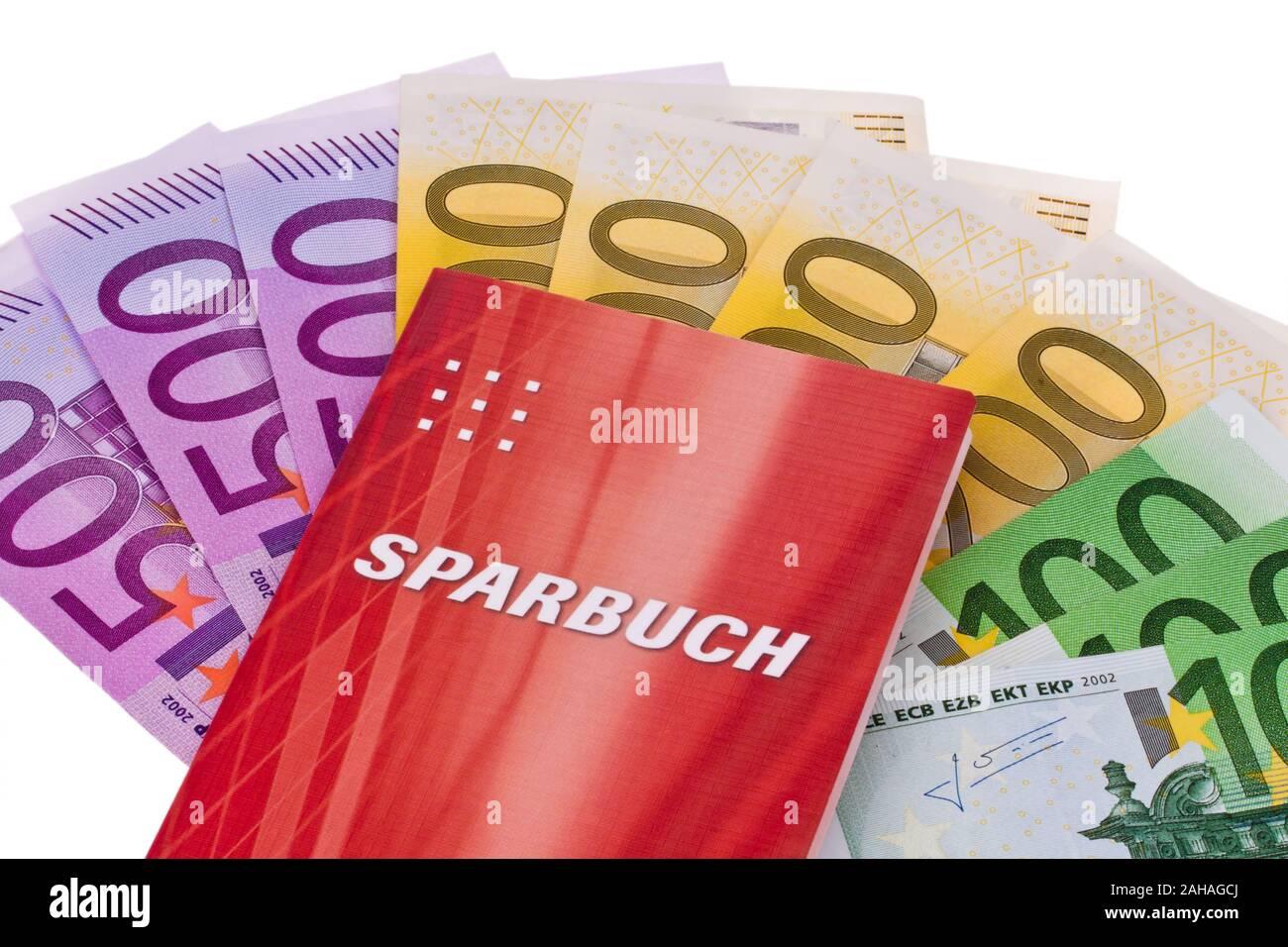 Sparbuch mit Euro Banknoten Stock Photo