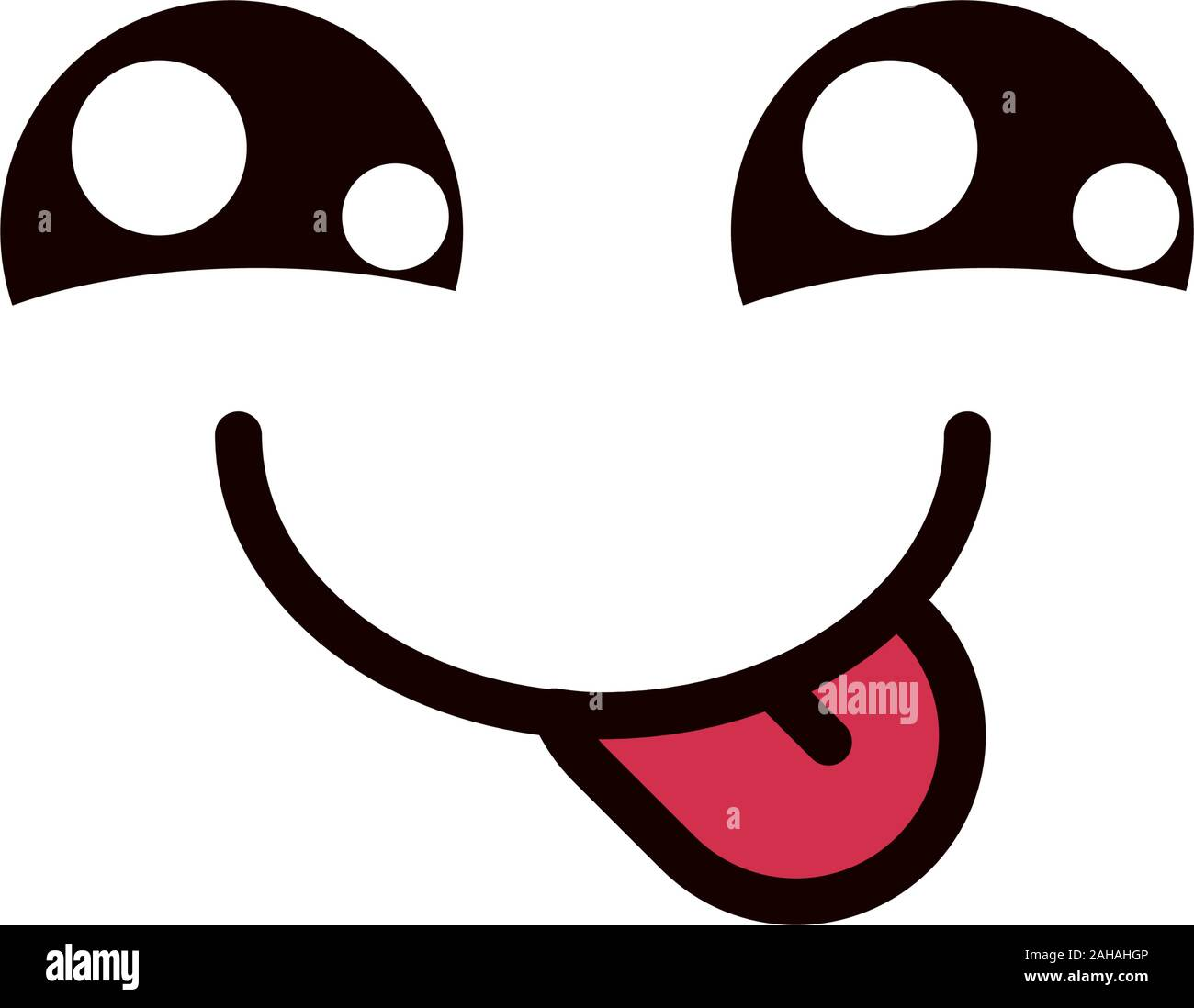 Kawaii Cute Face Expression Eyes And Mouth Tongue Out Vector