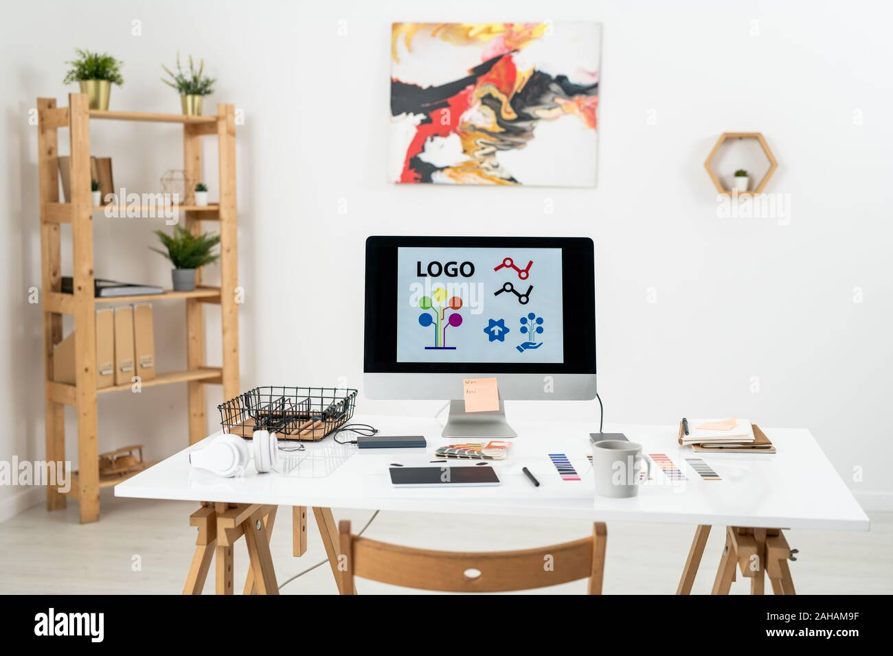 Workplace Of Contemporary Web Designer With Supplies Necessary For Work Stock Photo Alamy