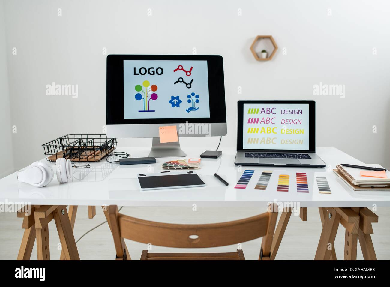 Working Supplies And Gadgets On Workplace Of Contemporary Freelance Web Designer Stock Photo Alamy