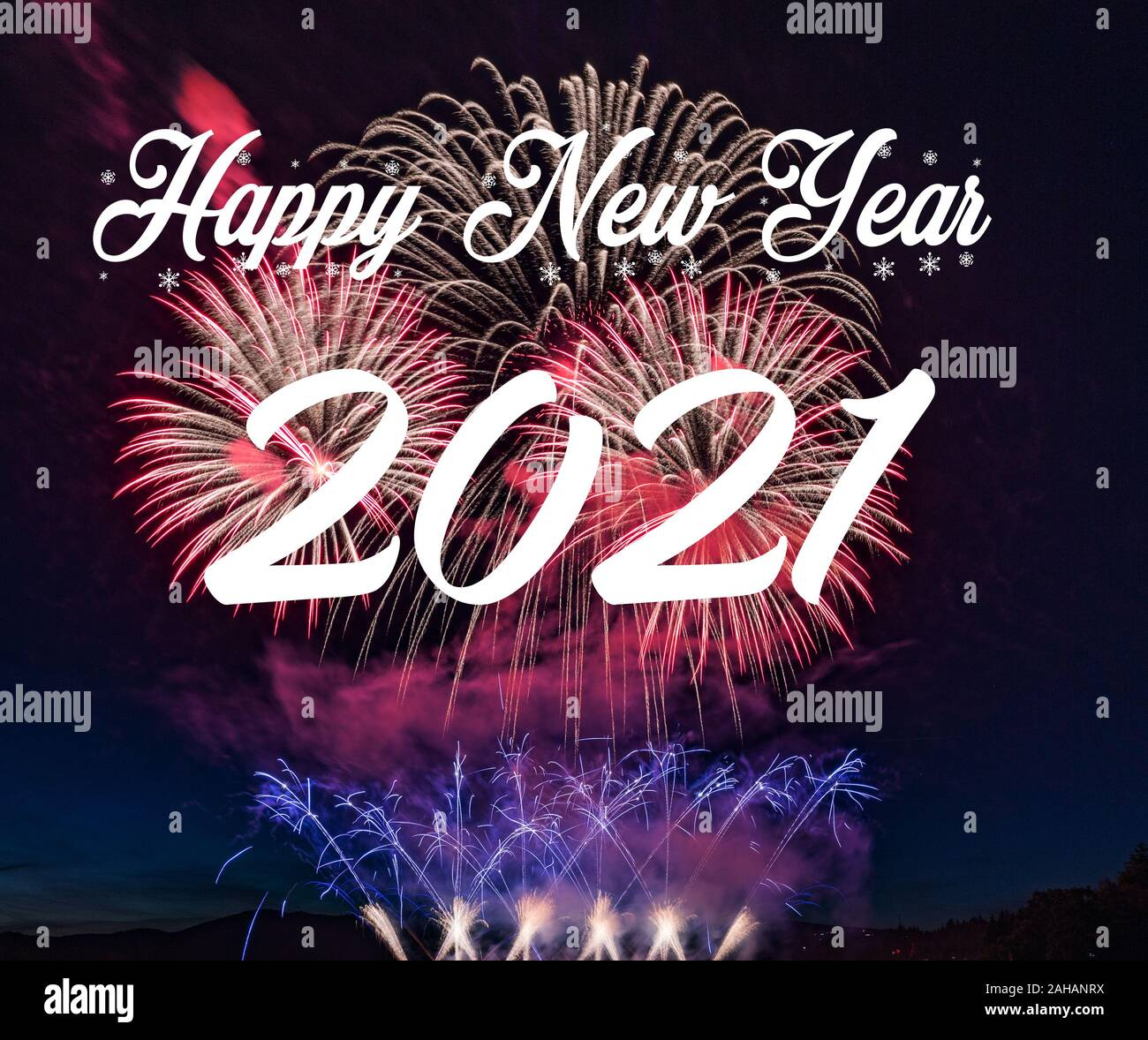 Happy new year 2021 with fireworks background. Celebration New Year 2021 Stock Photo - Alamy