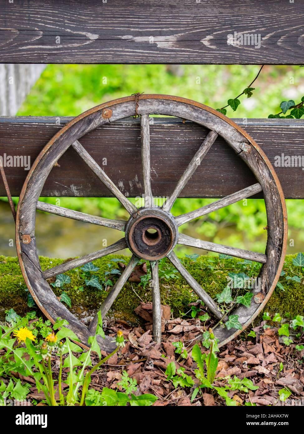 Wheel isolated from abandoned village wheeled vehicle Cabar in Croatia Europe Stock Photo