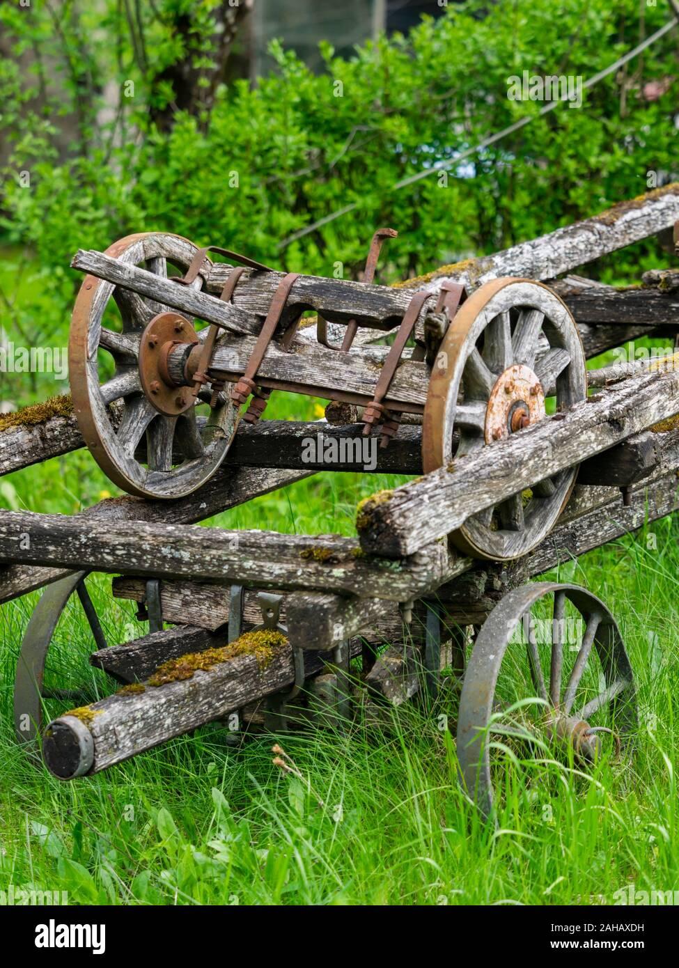 Abandoned village wheeled vehicle Cabar in Croatia Stock Photo