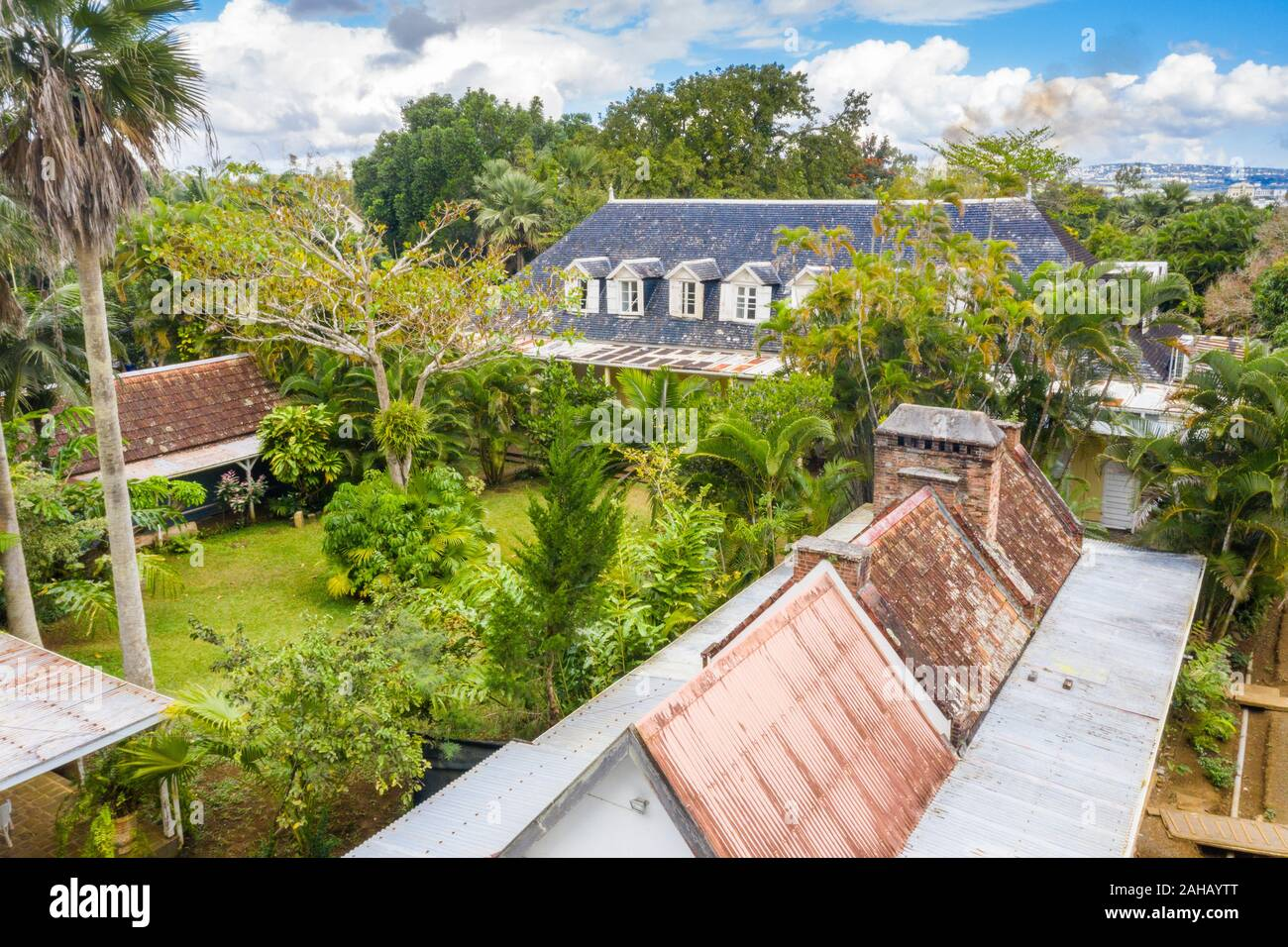 Eureka La Maison Creole house and gardens, aerial view, Moka, Montagne Ory, Indian Ocean, Mauritius Stock Photo