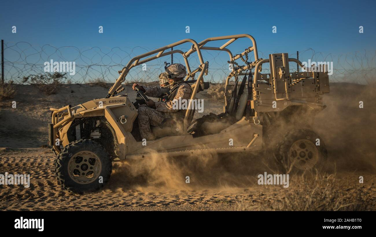 A U.S. Marine with 2nd Battalion, 7th Marines, during a MTVR tactical vehicle driving course December 21, 2019 in Kuwait. Stock Photo