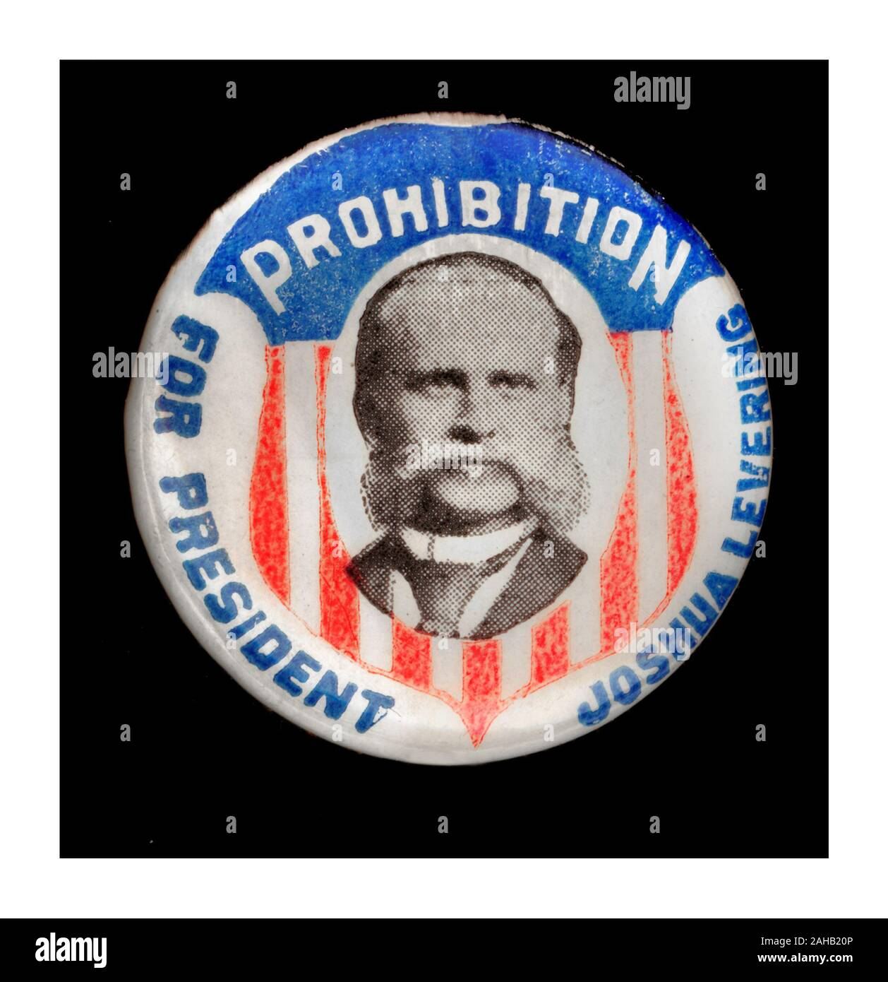 Vintage 1896 PROHIBITION CAMPAIGN LAPEL BADGE Joshua Levering (September 12, 1845 - October 6, 1935)  a prominent Baptist and a candidate for president of the United States in 1896. He was a passionate supporter of prohibition Stock Photo