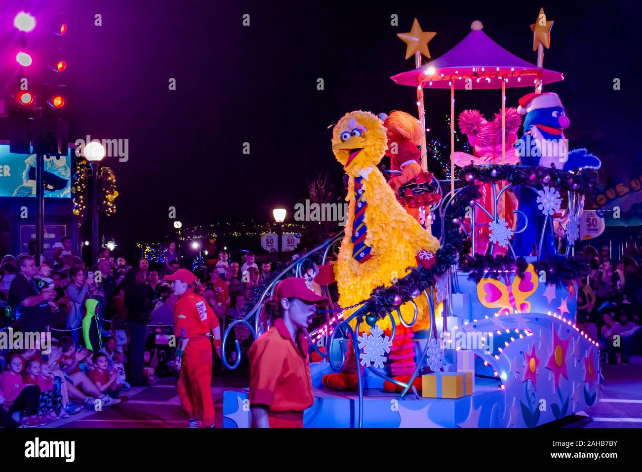 Grover Christmas Parade 2020 Orlando, Florida . December 21, 2019. Big Bird and Grover in