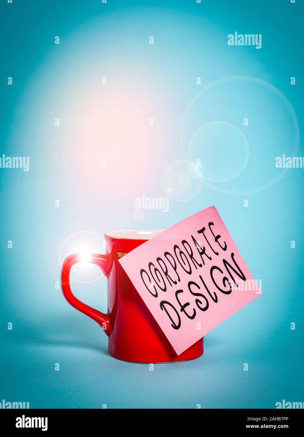 Text Sign Showing Corporate Design Business Photo Showcasing Official Graphical Design Of The Logo And Name Of A Company Coffee Tea Cup Mug Colored S Stock Photo Alamy