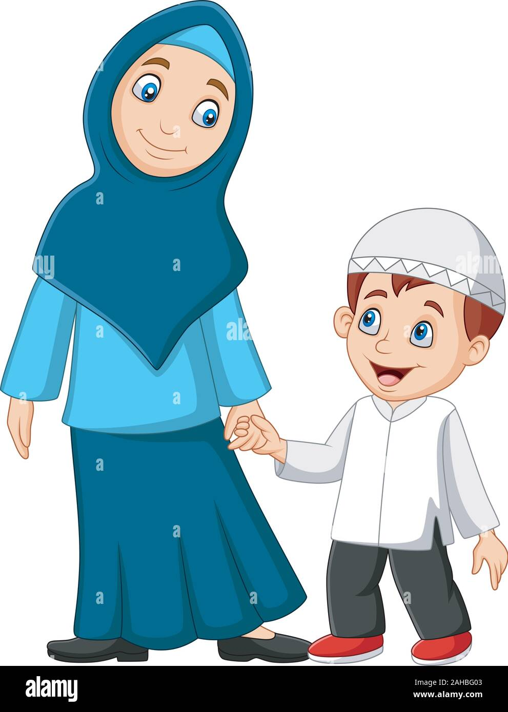 Cartoon Muslim Mother With Her Son Stock Vector Image Art Alamy