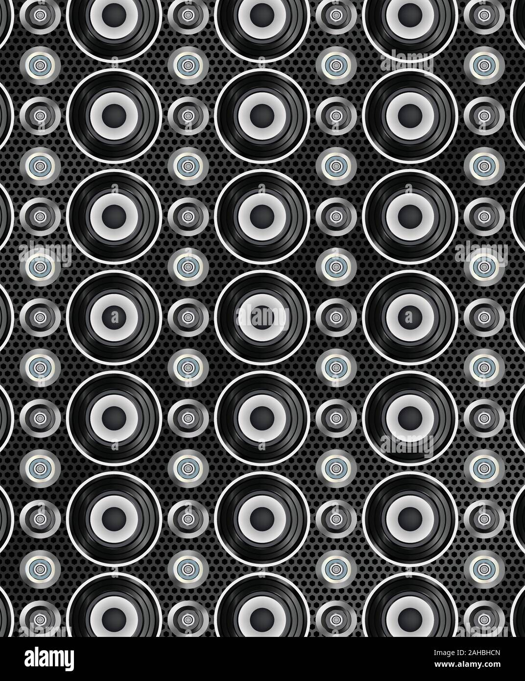 Audio speakers seamless pattern. Vector illustration Stock Vector