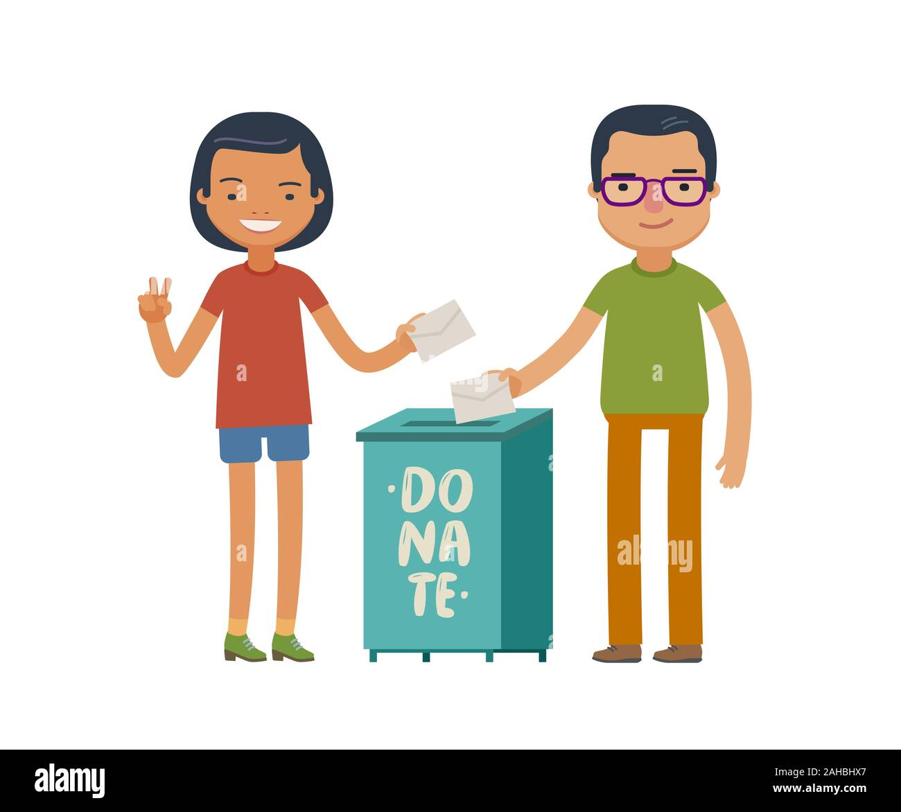 People make donations. Donate, charity concept Funny vector Stock Vector