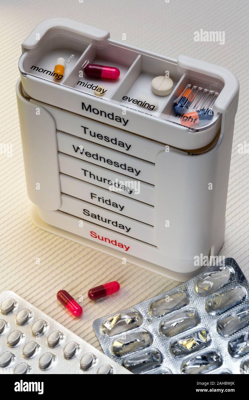 York. England. 06.17.15. Medical Treatment - Daily medication to be taken in the morning, midday, evening and at night. Stock Photo
