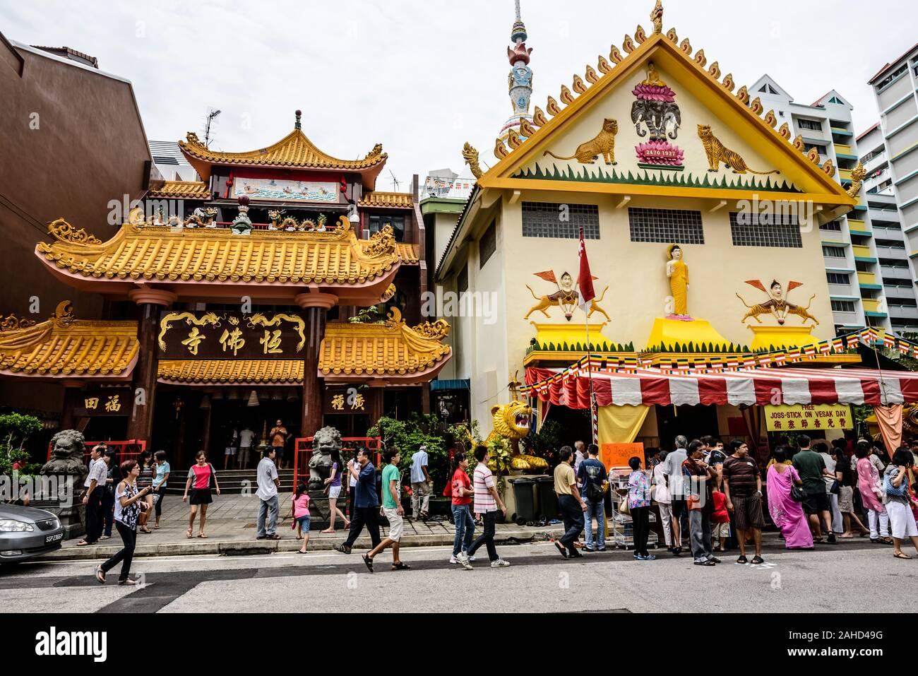 Sakya Muni or Sakyamuni Buddha Gaya Temple, Temple of 1000 Lights, district of Little India, Singapore Stock Photo
