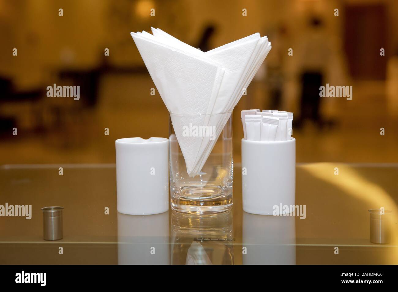 White Napkins In A Metal Napkin Holder Spices Salt And Pepper On A Woodeglass Table Panoramic View Toothpick A Table In A Cafe Or Restaurant Stock Photo Alamy