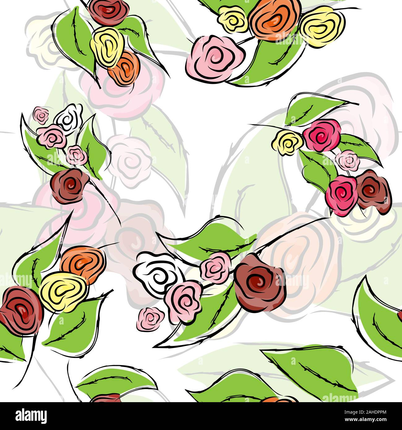 Seamless Flower Rose Pattern Texture Background Vector Seamless