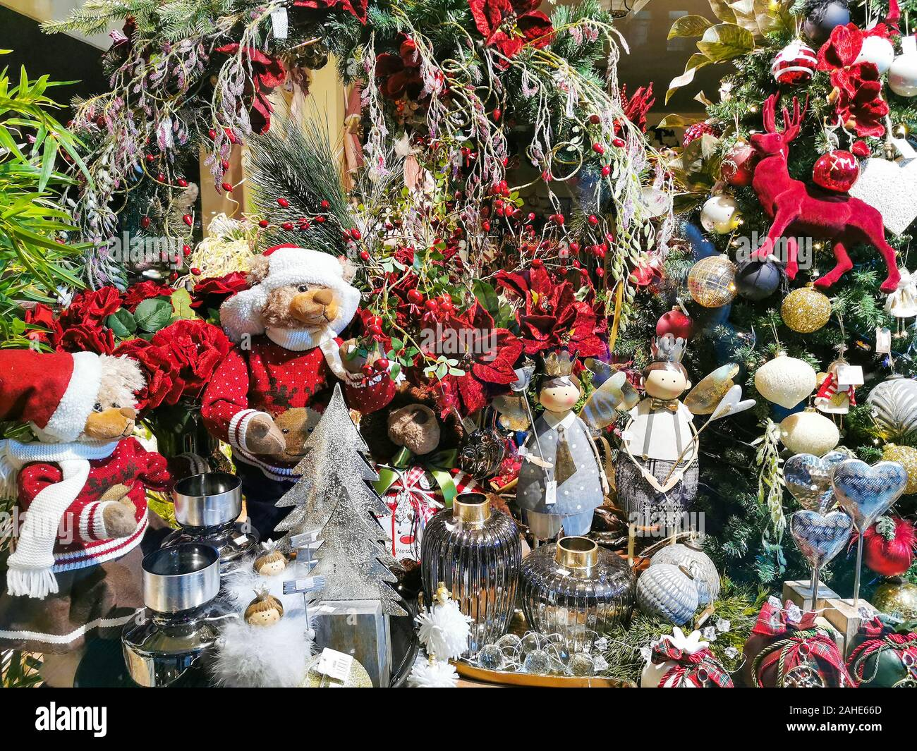 Christmas Tree Decorations Balls And Other Seasonal Art Crafted Products Of Modern Vintage And Traditional Styles Stock Photo Alamy