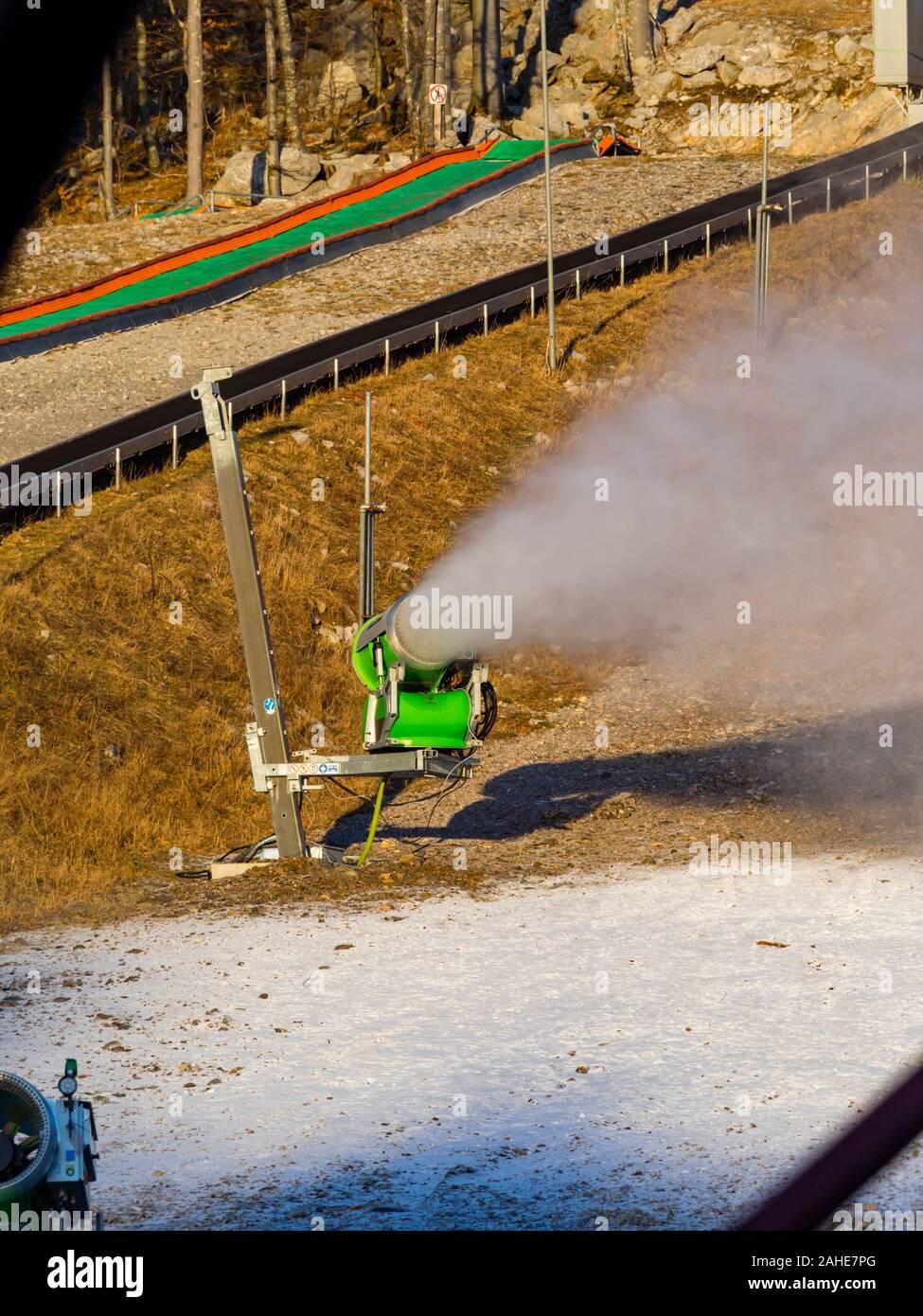 Start od artificial snow making snowflakes Platak Winter resort near Rijeka in Croatia Stock Photo