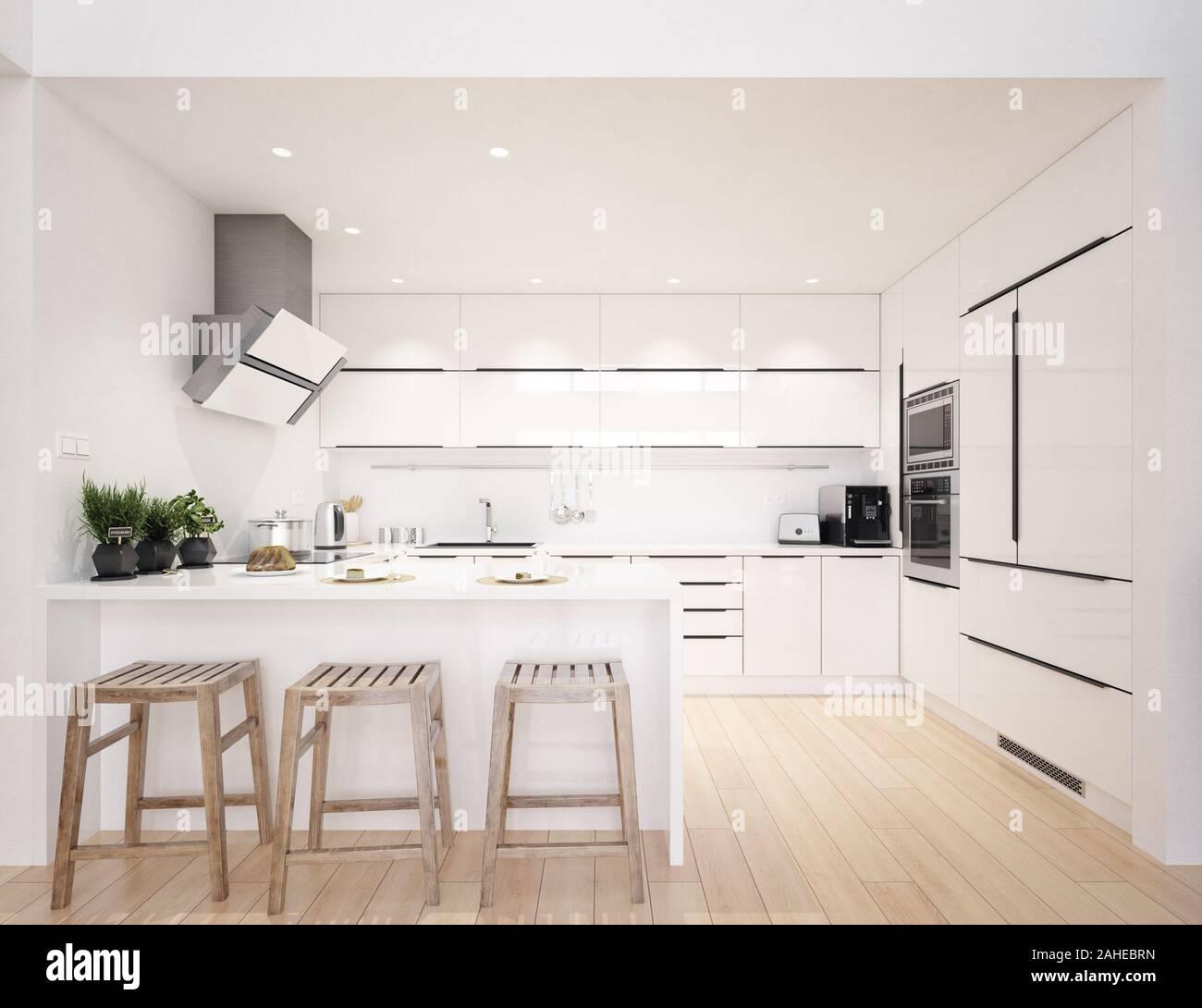 Scandinavian modern kitchen, minimalist interior design, 9d render ...