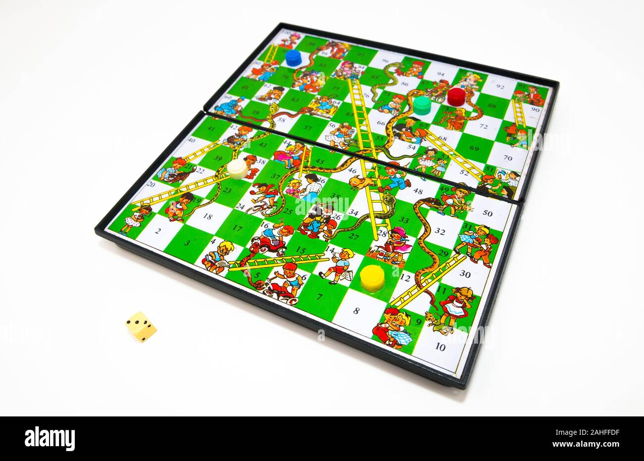 Magnetic Snakes and Ladders childs game. Stock Photo