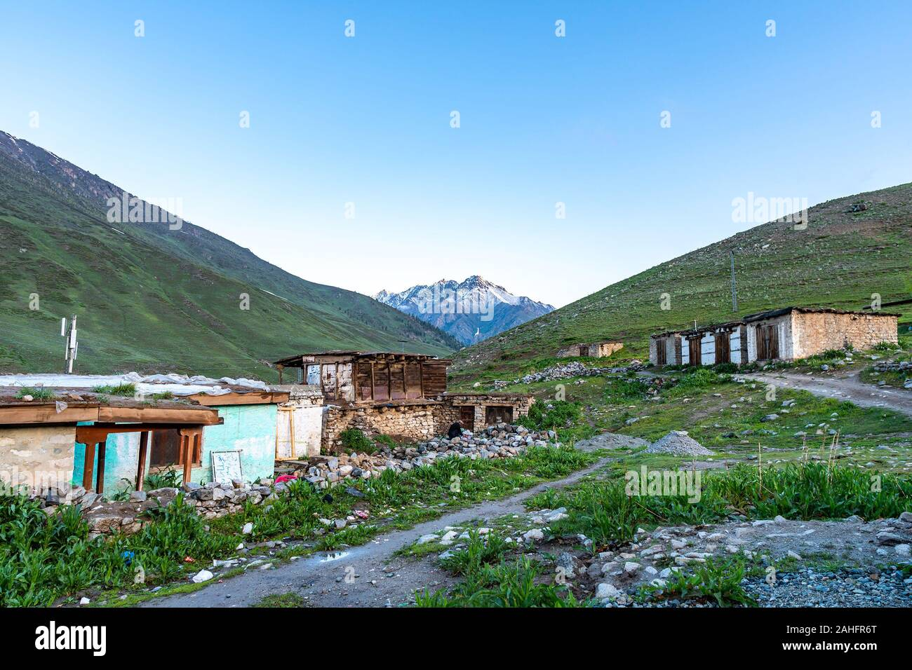 Deosai National Park Chilum Village Picturesque Breathtaking View in the Morning with Blue Sky Stock Photo