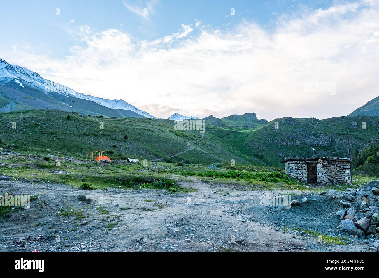Deosai National Park Chilum Village Picturesque Breathtaking View of Landscape in the Morning with Blue Sky Stock Photo